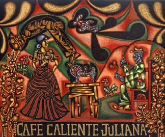 Cafe Caliente Juliana - Painting by Carlos Luna